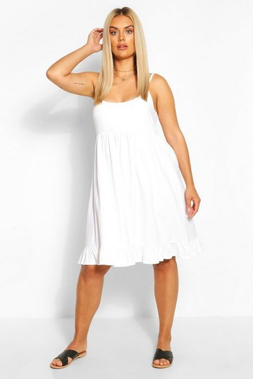 White Plus Strappy Ruffle Sundress