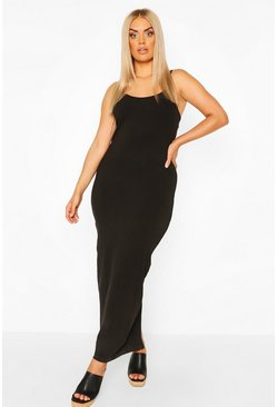 Plus strappy Basic Maxi Dress, Black nero