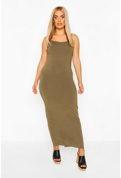 Khaki Plus Strappy Basic Maxi Dress