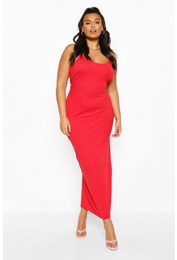 Plus strappy Basic Maxi Dress, Red rosso