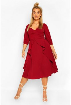 Berry red Plus Ruffle Detail Wrap Midi Dress