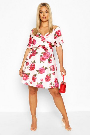 Floral multi Plus Scuba Wrap Tie Belt Skater Dress