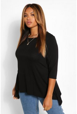 Black Plus Hanky Hem 3/4 Sleeve T-Shirt