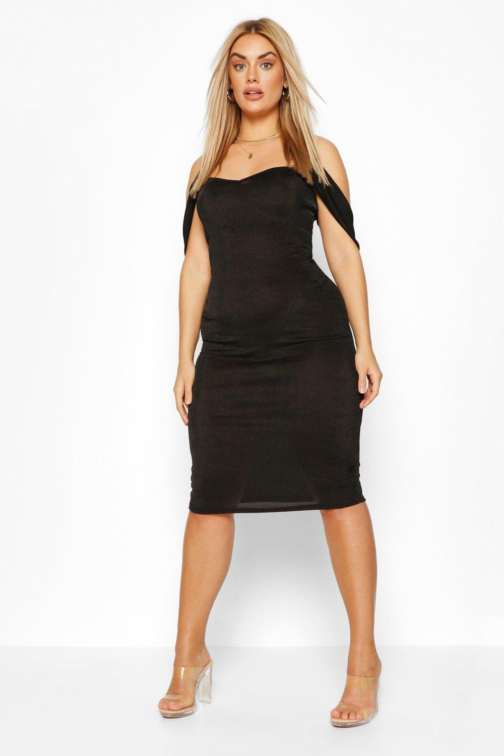 Plus Cold Shoulder Textured Slinky Midi Dress 3