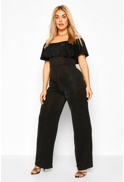 Orange Plus Bardot Ruffle Jumpsuit
