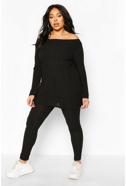 Black Plus Rib Off The Shoulder Legging Lounge Set