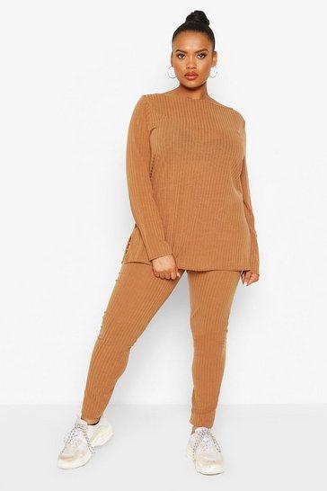 Camel beige Plus Rib Off The Shoulder Loungewear Set