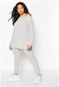 Grey grå Plus - Ribbad mysdress med off shoulder-topp och leggings