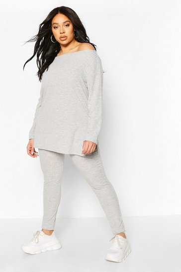Grey Plus Rib Off The Shoulder Legging Lounge Set