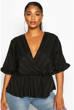 Black Plus Satin Stripe Wrap Peplum Blouse