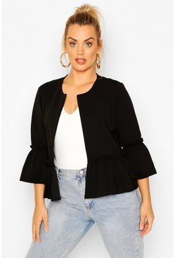 Black Plus Ruffle Collarless Blazer