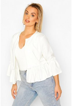 Ivory white Plus Ruffle Collarless Blazer