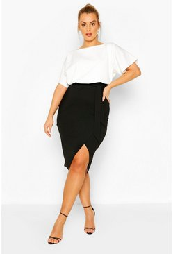 Black Plus Colour Block Midi Dress