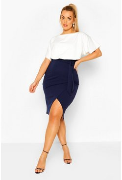 Navy Plus Colourblock Midi Dress