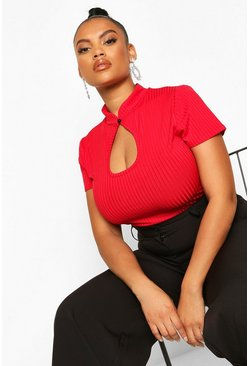 Red Plus Mandarin Collar Cut Out Fitted Top