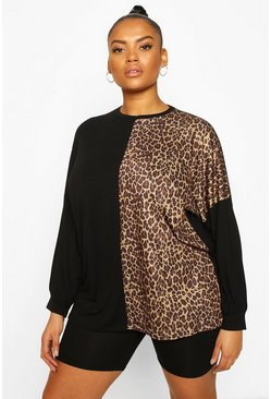 Black Plus Colour Block Leopard Panel Long Sleeve T-Shirt