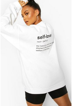 White Plus Self Love Back Print Sweat