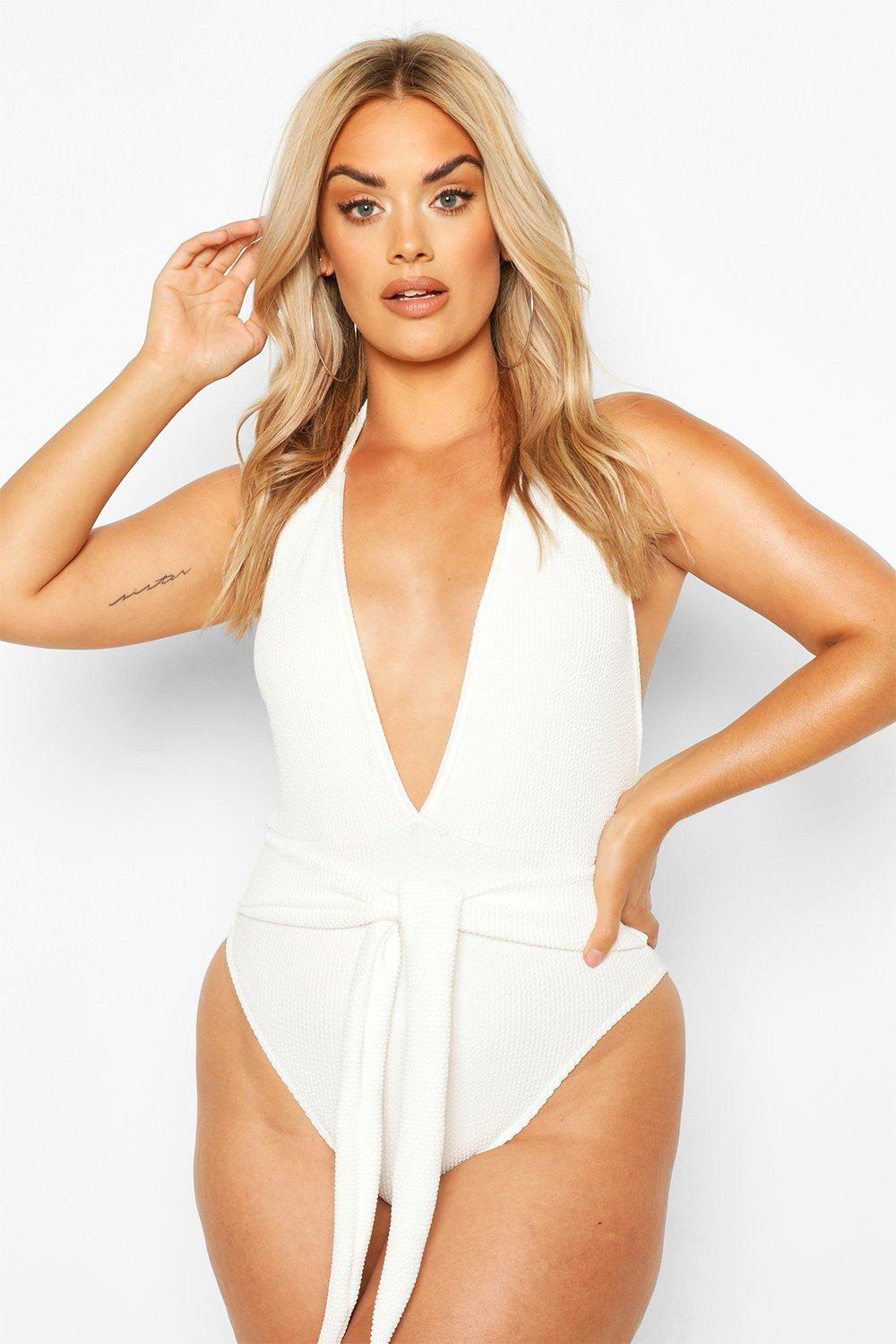 Plus Crinkle Tie Belt Swimsuit 7