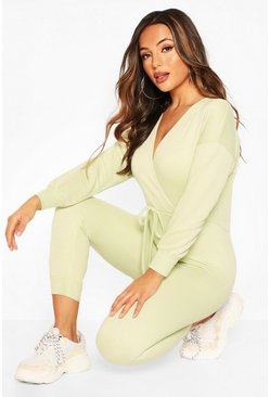 Mint green Petite Wrap Over Sweat Jumpsuit