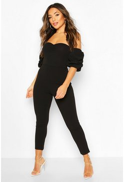 Black Petite Ruched Puff Sleeve Jumpsuit