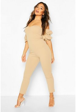 Stone beige Petite Ruched Puff Sleeve Jumpsuit