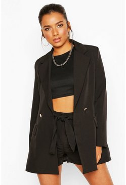 Black Petite Belt Detail Double Breasted Blazer