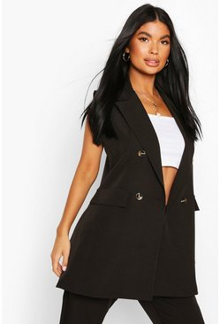 Black Petite Double Breasted Sleeveless Blazer