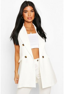 Ivory white Petite Double Breasted Sleeveless Blazer