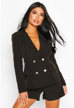 Black Petite Double Breasted Blazer