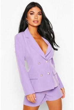Lilac purple Petite Double Breasted Blazer