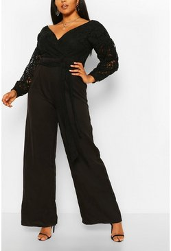 Black svart Plus - Off shoulder-jumpsuit med spets och vida ben