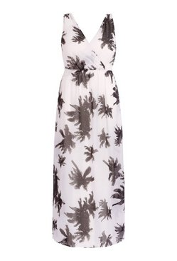 White Plus Palm Print Maxi Beach Dress