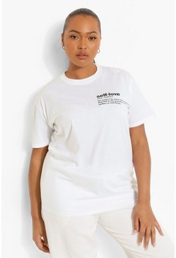 T-shirt imprimé à slogan Self Love sur la poche Plus, Blanc
