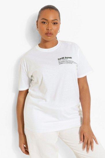 White Plus Self Love Slogan Pocket Print T-Shirt