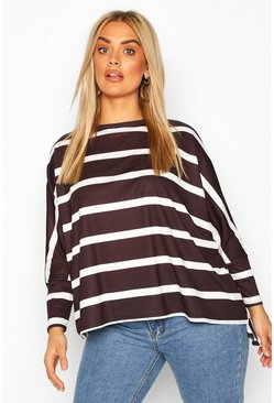 Black Plus Stripe Batwing Sleeve Top
