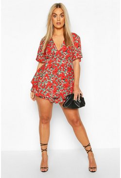 Red Plus Floral Wrap Skort Romper