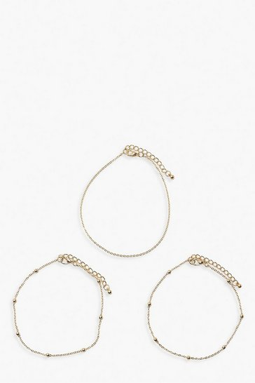 Gold metallic Plus 3 Chain Anklet Pack
