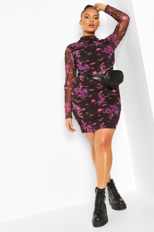 Plus Oriental Mesh Bodycon Mini Dress 2