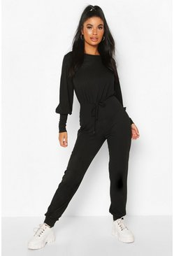Black Petite Ribbed Jogger Jumpsuit