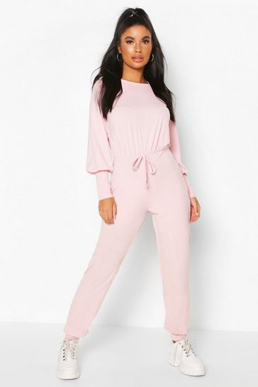 Blush pink Petite Ribbed Jogger Jumpsuit