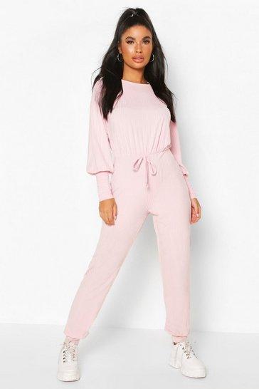 Blush pink Nude Petite Ribbed Jogger Jumpsuit