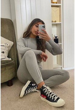 Grey Petite Ribbed Jogger Jumpsuit