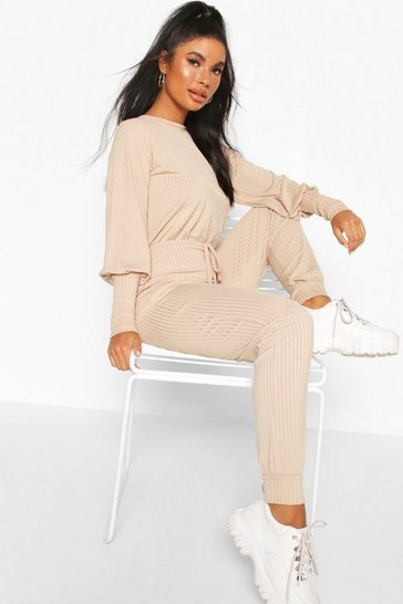 Stone beige Petite Ribbed Jogger Jumpsuit