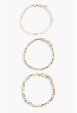 Gold metallic Plus 3 Pack Chain Anklet