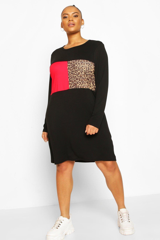 Plus Leopard Panel Oversized T-Shirt Dress 2