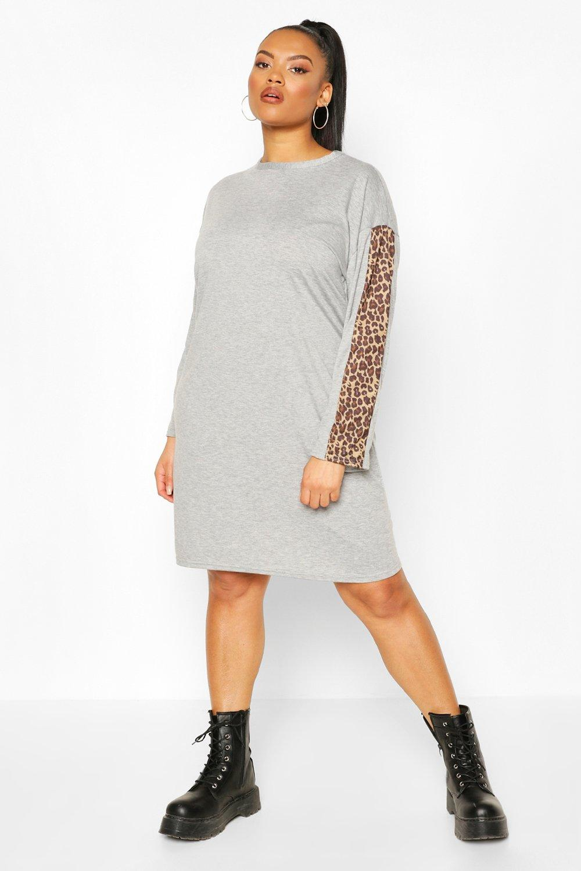 Plus Leopard Stripe Long Sleeve Dress 7