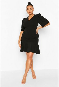 Black Plus Puff Sleeve Ruffle Shift Dress