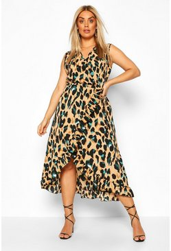 Brown Plus Wrap Leopard Ruffle Midi Dress