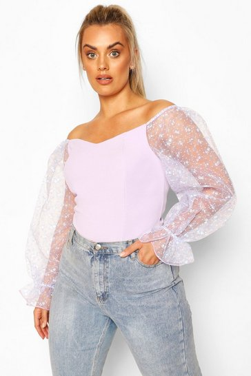 Lilac purple Plus Bardot Floral Organza Top