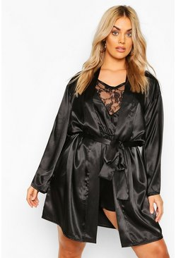 Black Plus Satin Belted Mini Robe
